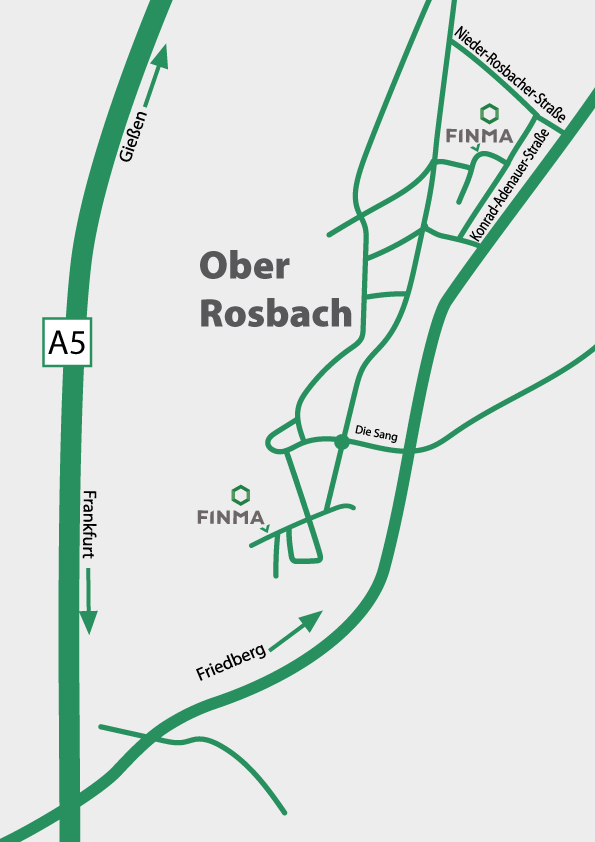 schematic overview of Rosbach with the two Finma locations