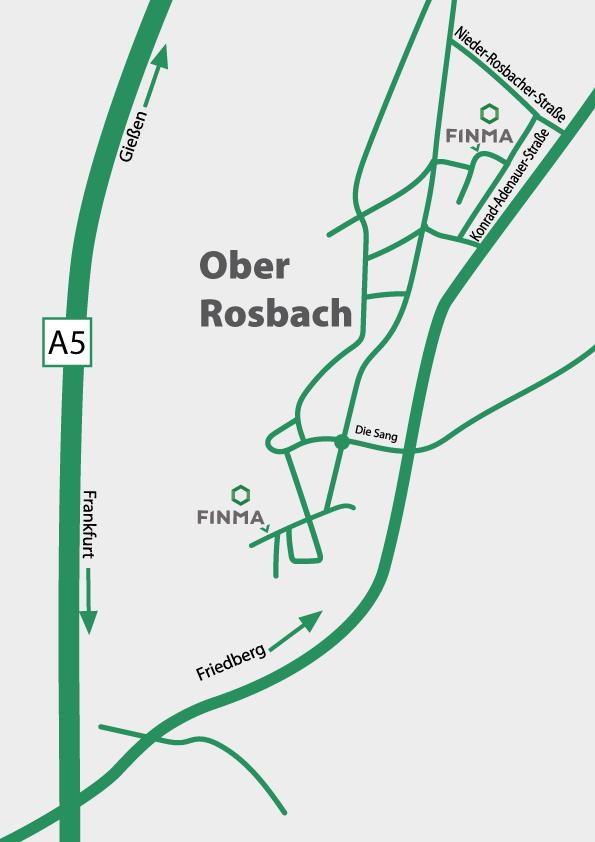 schematische Beschreibung der Standorte der Finma GmbH in Rosbach