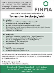 Stellenangebot - Finma GmbH - Technischer Service