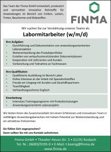 Stellenangebot - Finma - Labormitarbeiter